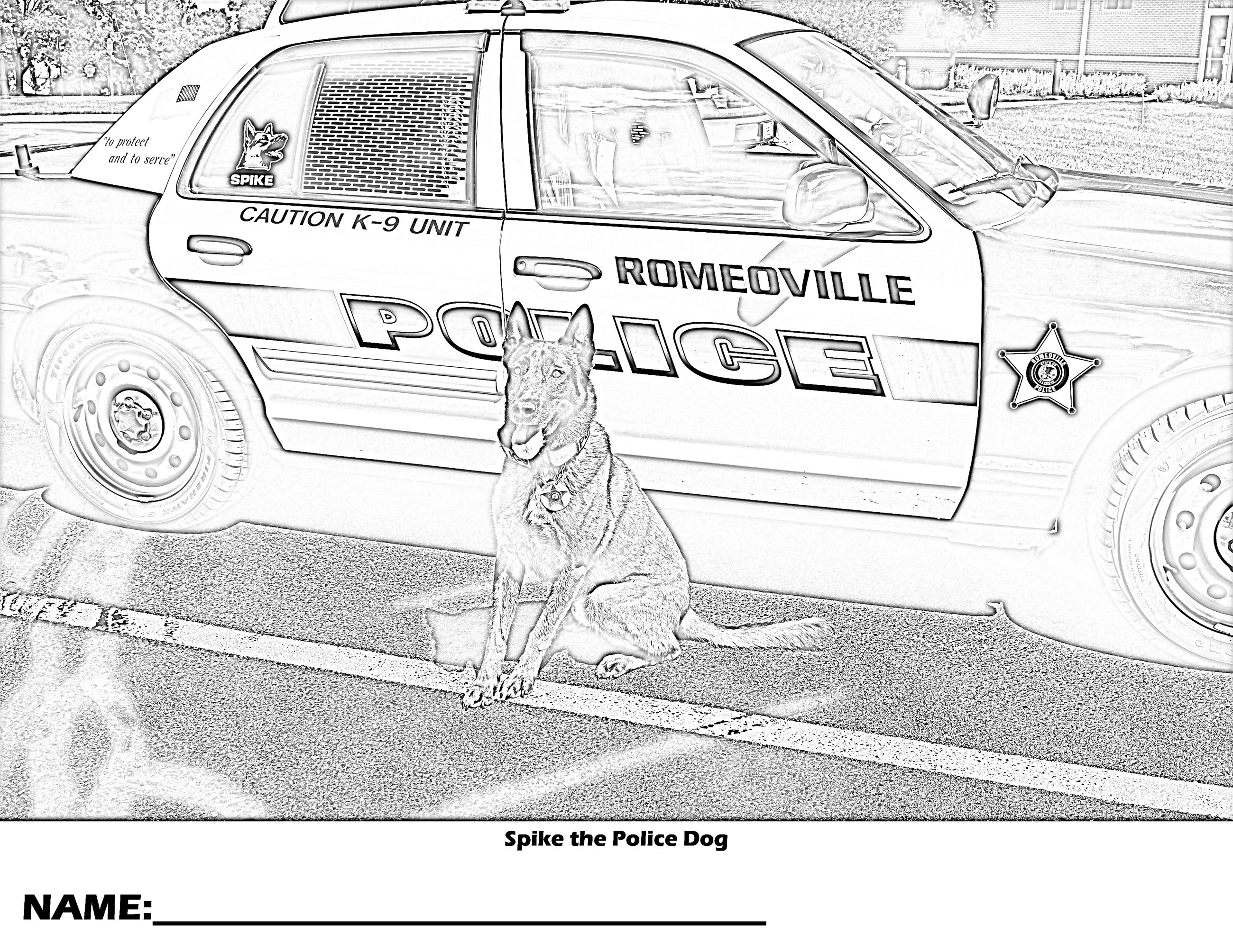 Spike the Police Dog II Coloring Page