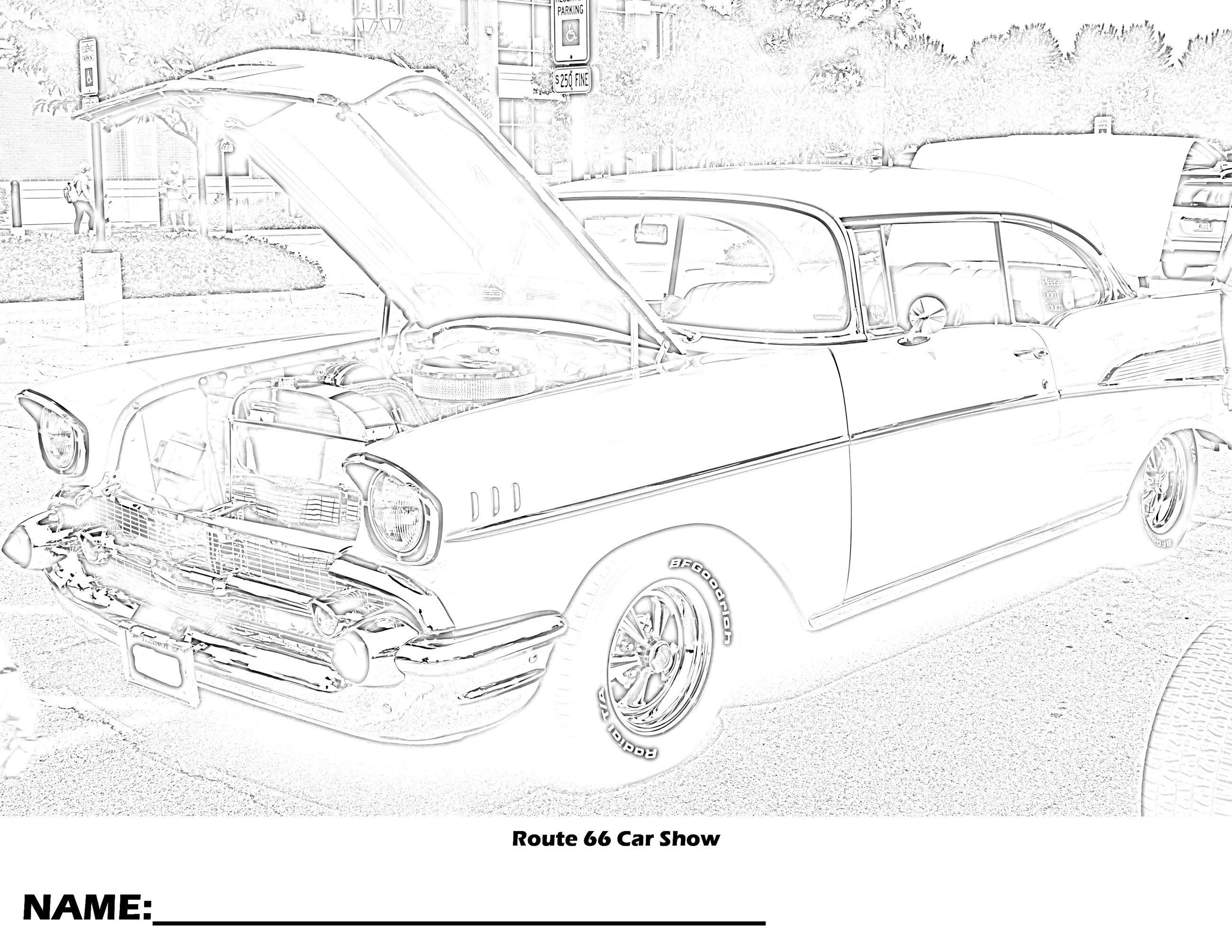 Route 66 Car Show Coloring Page